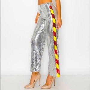 """Silver """"High Stakes"""" Hazard Sequin Ankle Palazzo Pants"""